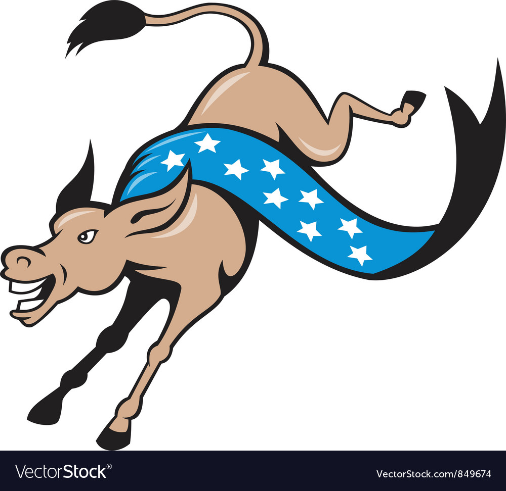 Donkey jackass jumping democrat vector | Price: 3 Credit (USD $3)