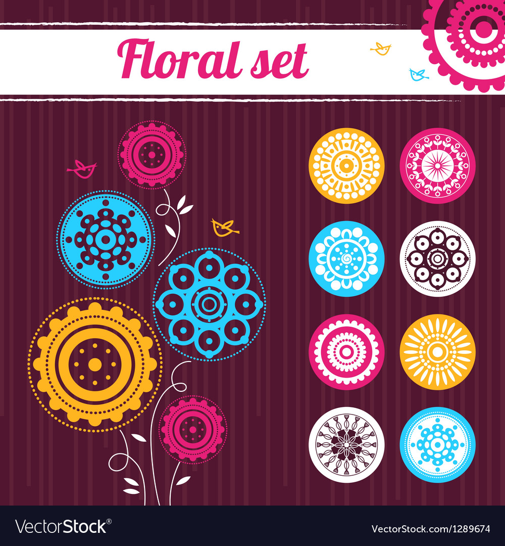Floral set vector | Price: 1 Credit (USD $1)