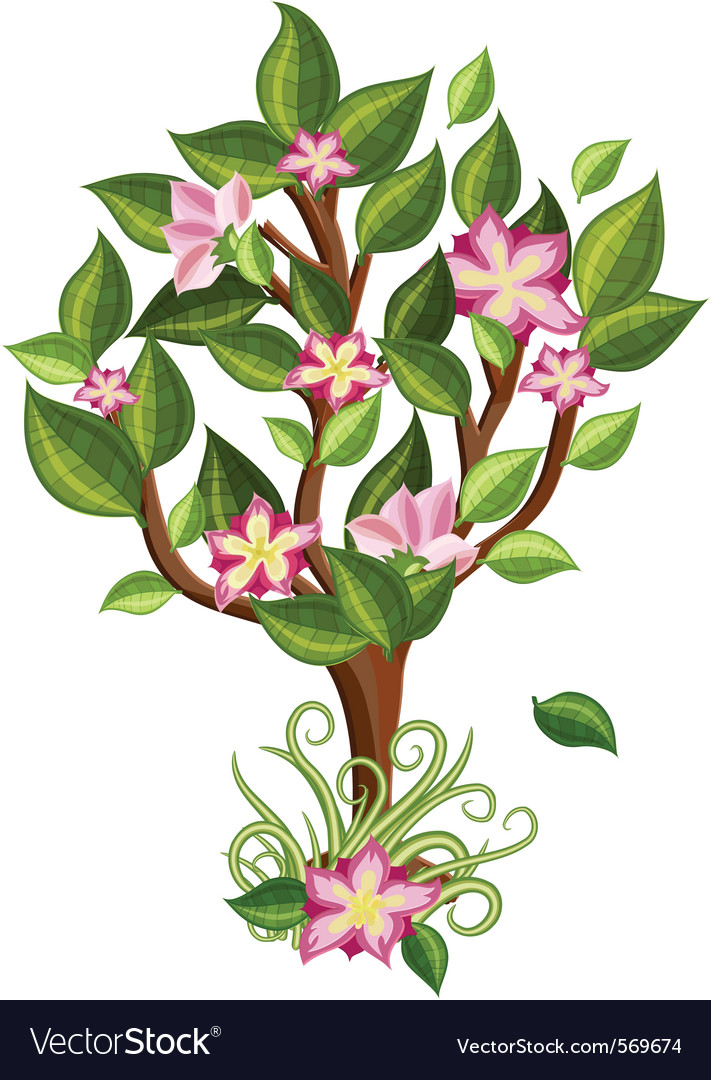 Flower tree with glossy leaves vector   Price: 1 Credit (USD $1)