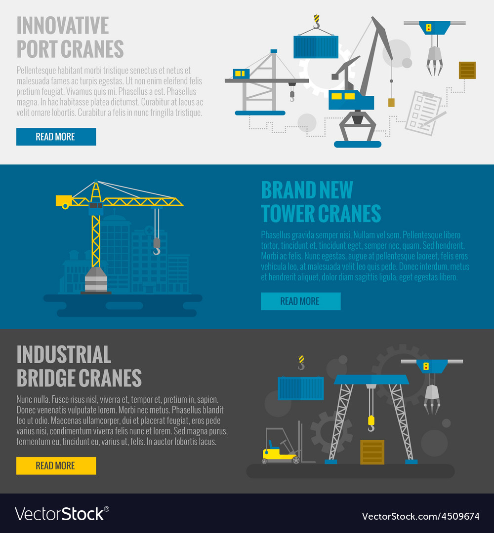 Lifting equipment banner vector | Price: 1 Credit (USD $1)