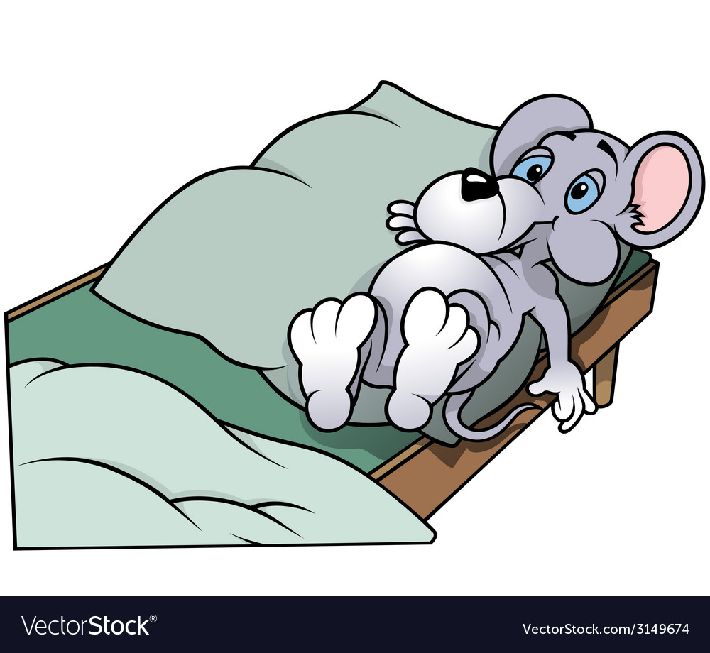Mouse in bed vector | Price: 1 Credit (USD $1)