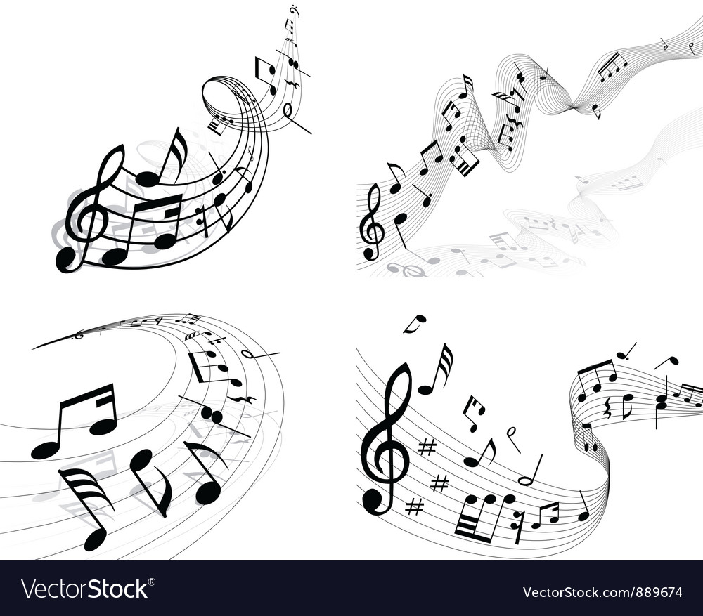 Musical sheet set vector | Price: 1 Credit (USD $1)