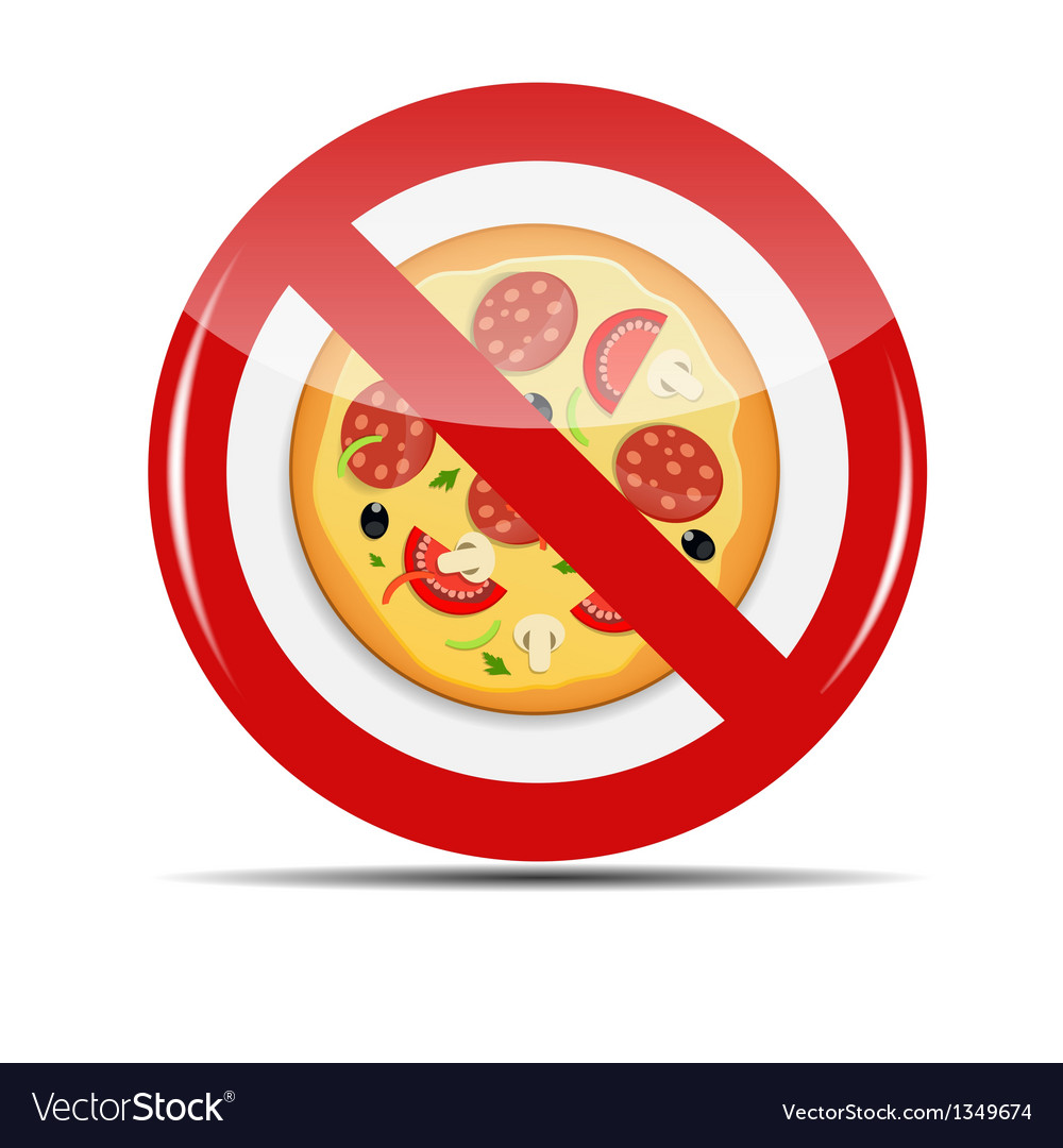 No pizza sign vector | Price: 1 Credit (USD $1)