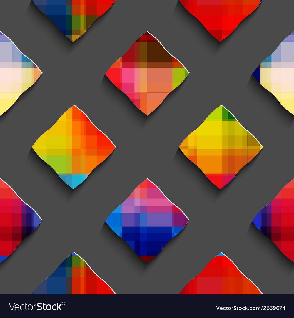 Rainbow colored rectangles on gray seamless vector | Price: 1 Credit (USD $1)