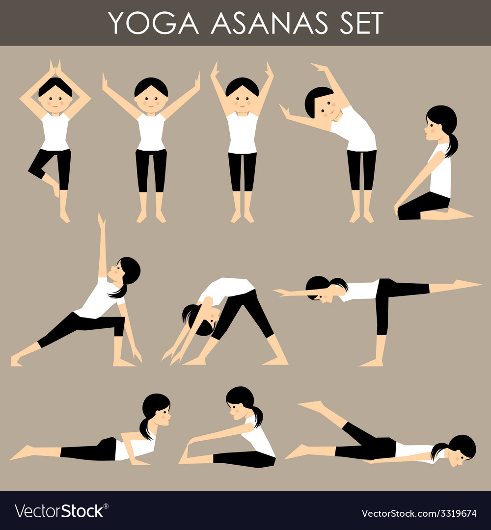 Yoga asanas set vector | Price: 1 Credit (USD $1)