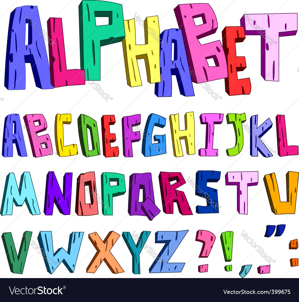 3d cartoon alphabet vector | Price: 1 Credit (USD $1)
