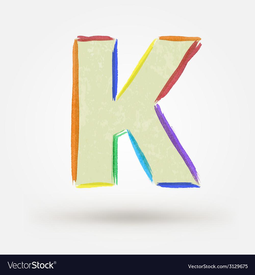 Alphabet letter k watercolor paint design element vector   Price: 1 Credit (USD $1)