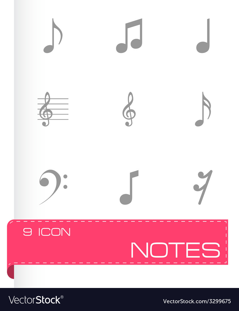 Black notes icons set vector | Price: 1 Credit (USD $1)