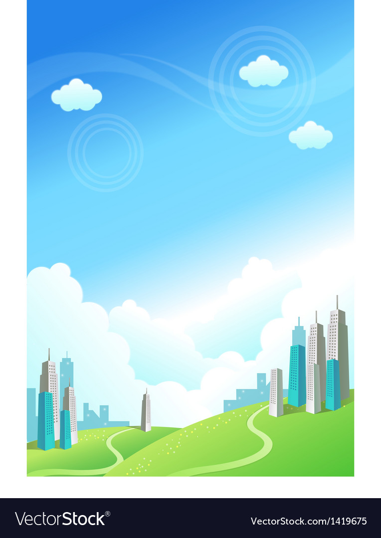 Buildings over the green mountain vector | Price: 1 Credit (USD $1)