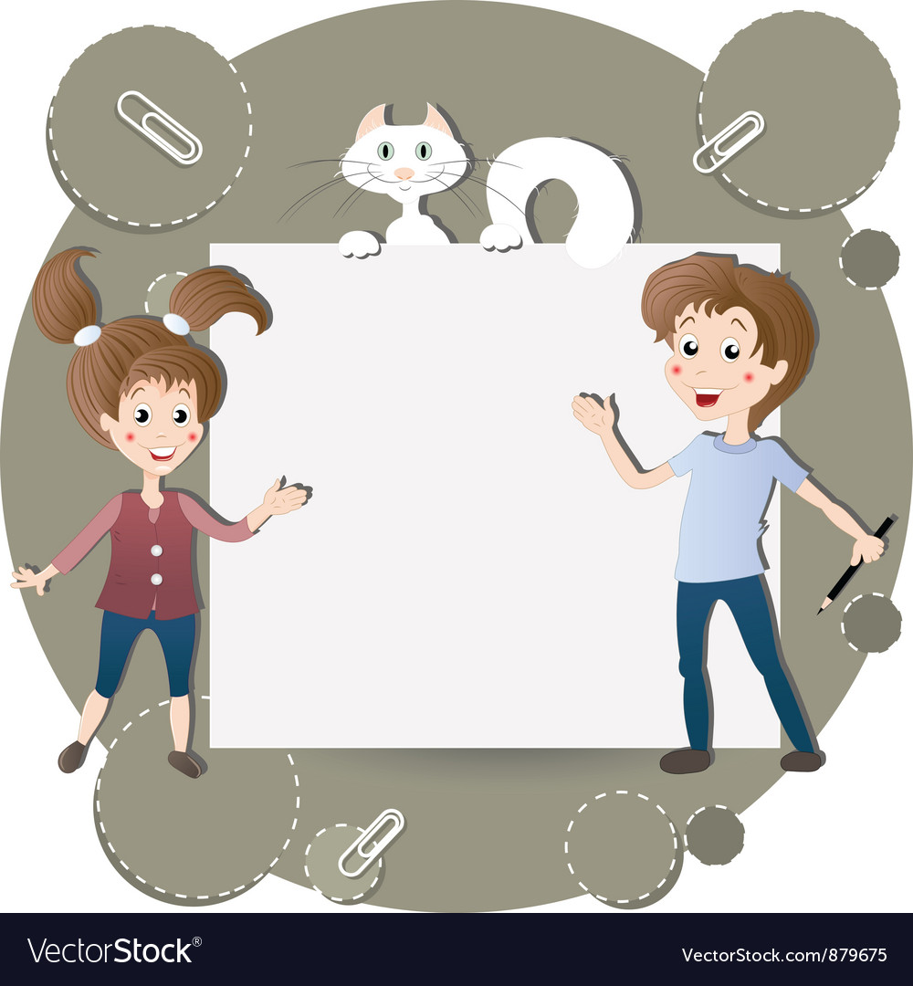 Children and a cat at the billboard vector | Price: 3 Credit (USD $3)