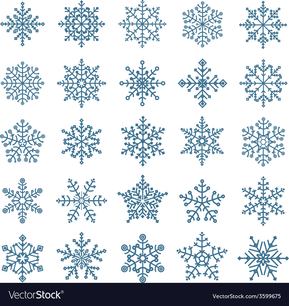 Different snowflake elements set vector | Price: 1 Credit (USD $1)
