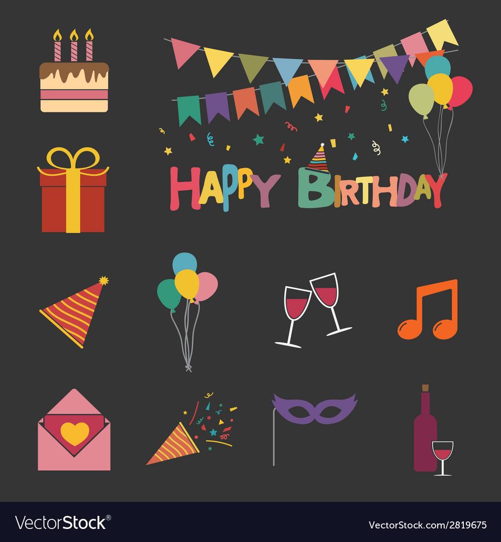 Happy birthday set vector | Price: 1 Credit (USD $1)