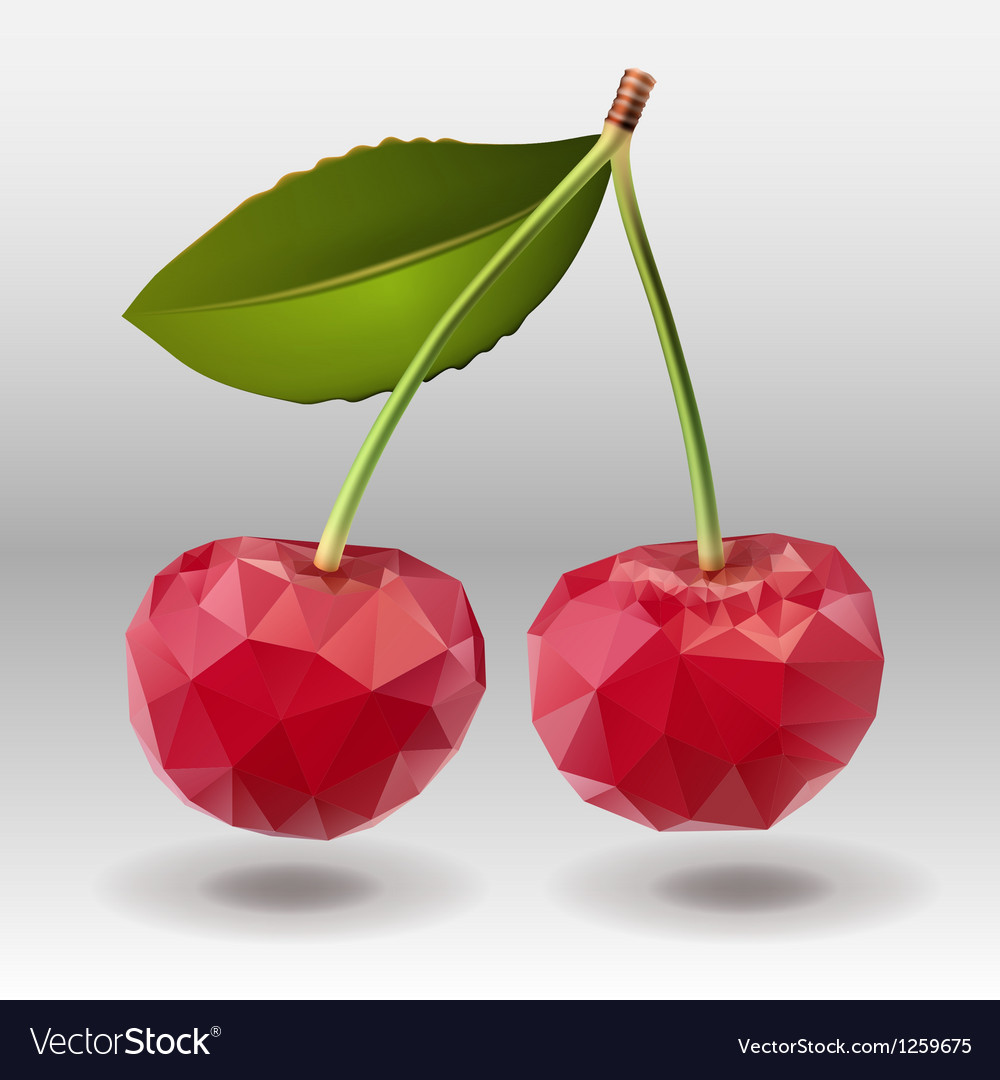 Polygonal red cherry berries with green leaves vector | Price: 1 Credit (USD $1)
