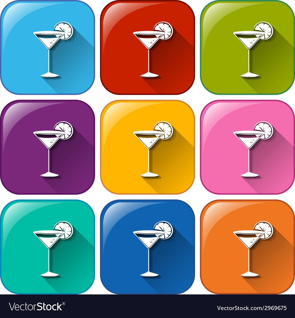 Rounded buttons with cocktail drinks vector | Price: 1 Credit (USD $1)