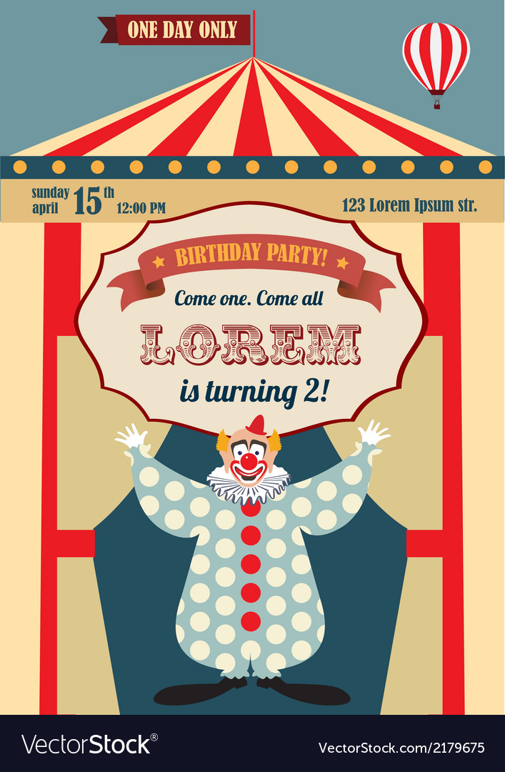 Vintage birthday invitation vector | Price: 1 Credit (USD $1)
