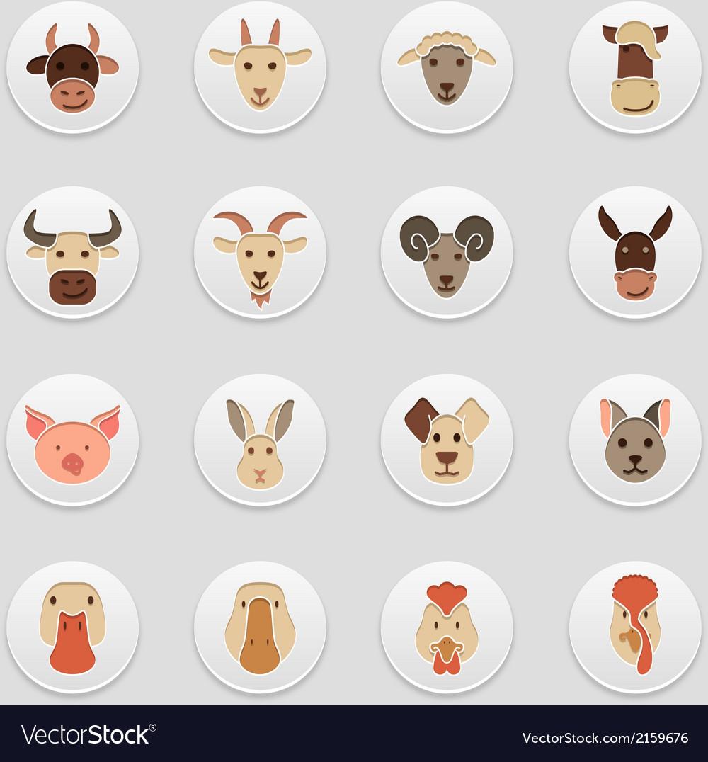 Farm animals icons vector   Price: 1 Credit (USD $1)