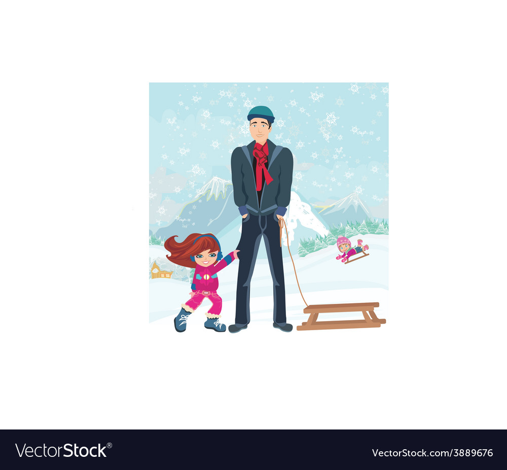 Girl wants to ride on a sled vector | Price: 1 Credit (USD $1)