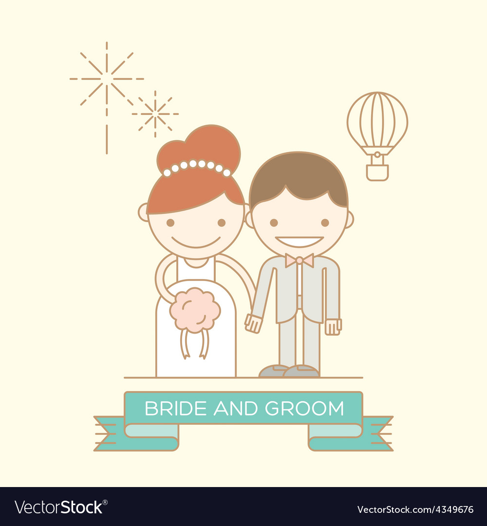 Groom and bride line cartoon icon vector | Price: 1 Credit (USD $1)