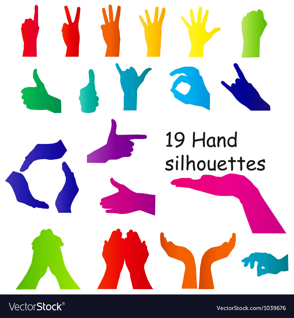 Hand signal silhouettes on white vector | Price: 1 Credit (USD $1)