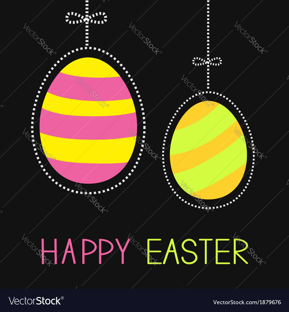 Hanging painted easter eggs with dash line and bow vector | Price: 1 Credit (USD $1)