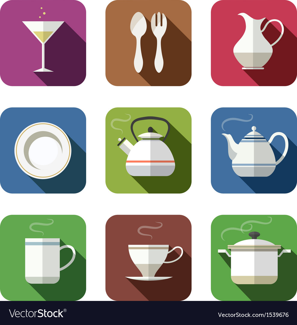 Kitchen tableware set of icons vector | Price: 1 Credit (USD $1)