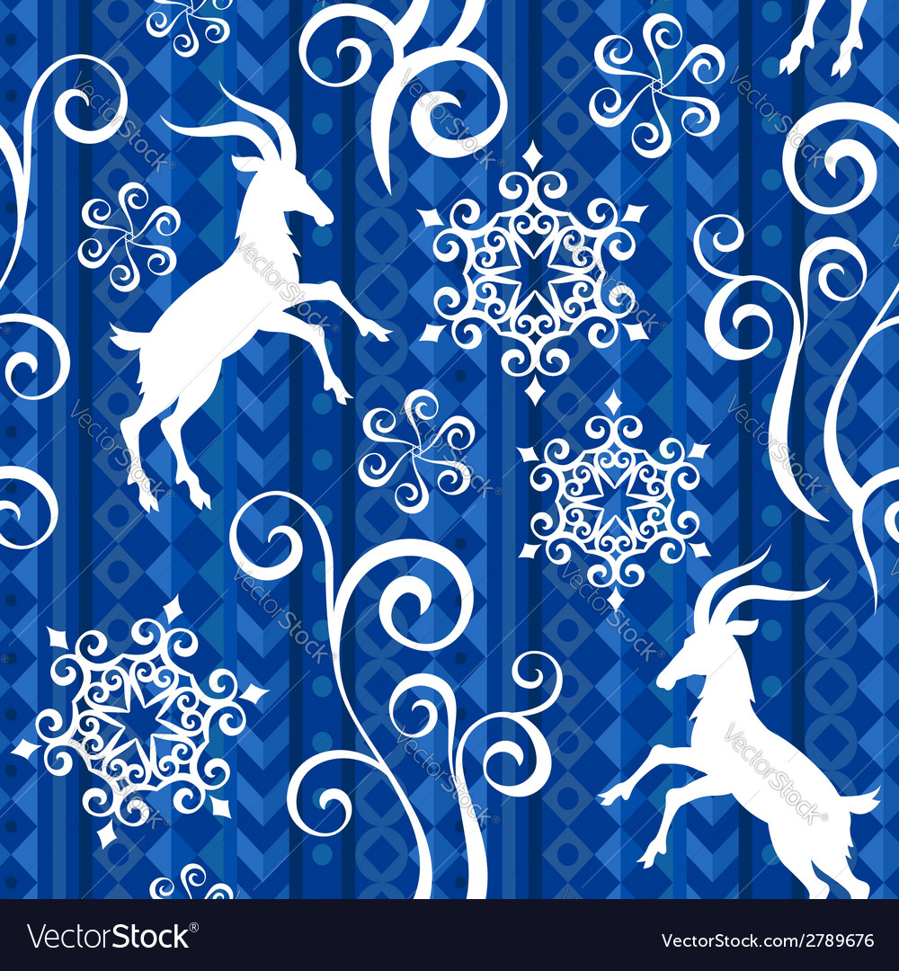 Pattern goat year blue vector | Price: 1 Credit (USD $1)