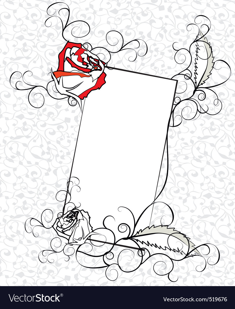 Sketch of ornate roses frame vector | Price: 1 Credit (USD $1)