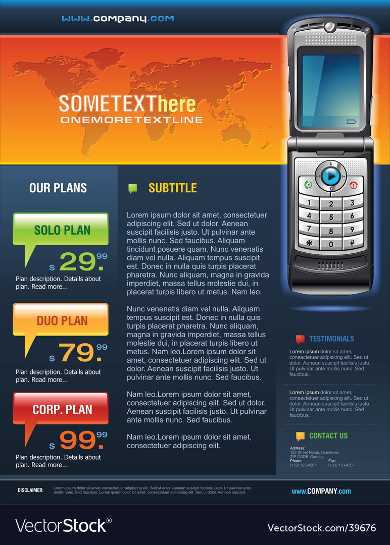Telecom brochure vector | Price: 5 Credit (USD $5)