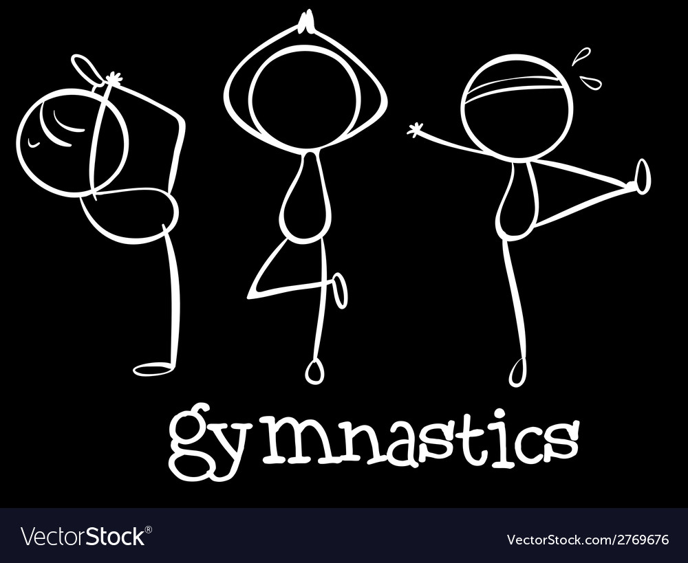 Three gymnasts vector | Price: 1 Credit (USD $1)