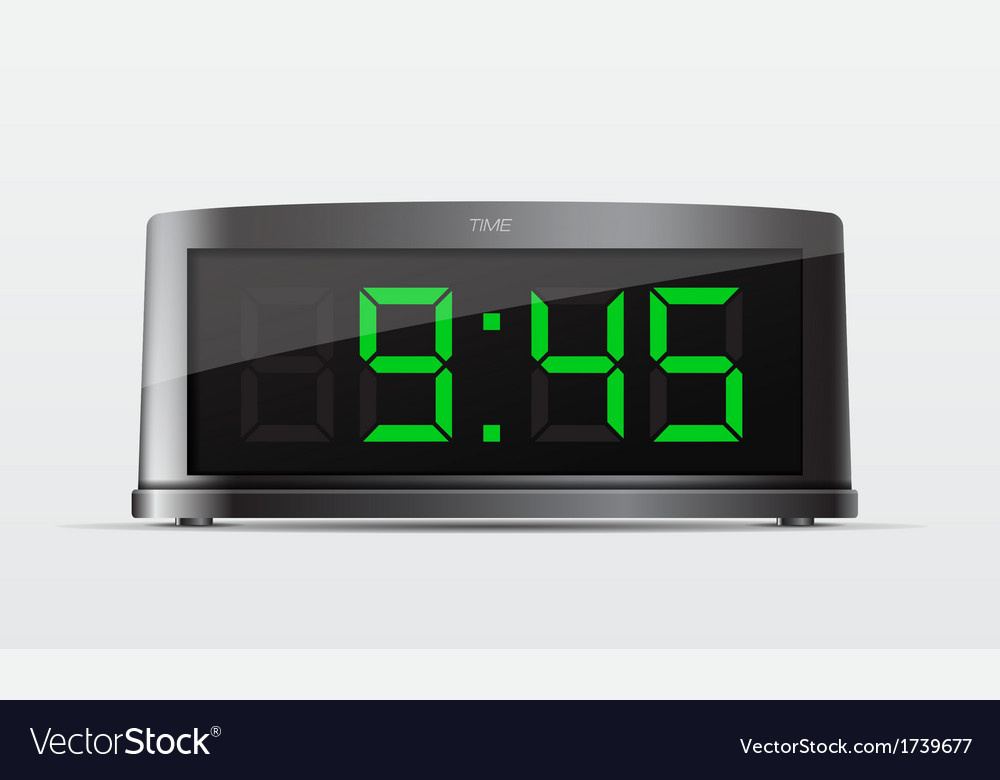Black digital alarm clock vector | Price: 1 Credit (USD $1)