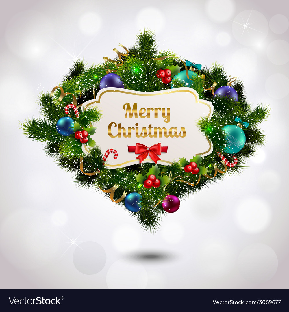 Christmas wreath postcard vector | Price: 3 Credit (USD $3)