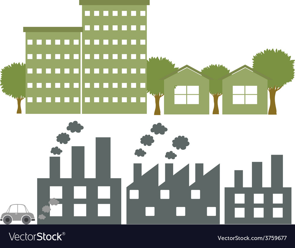 Factories in gray and green colours vector   Price: 1 Credit (USD $1)