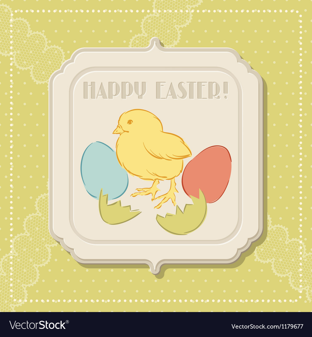 Happy easter retro greeting card vector | Price: 1 Credit (USD $1)