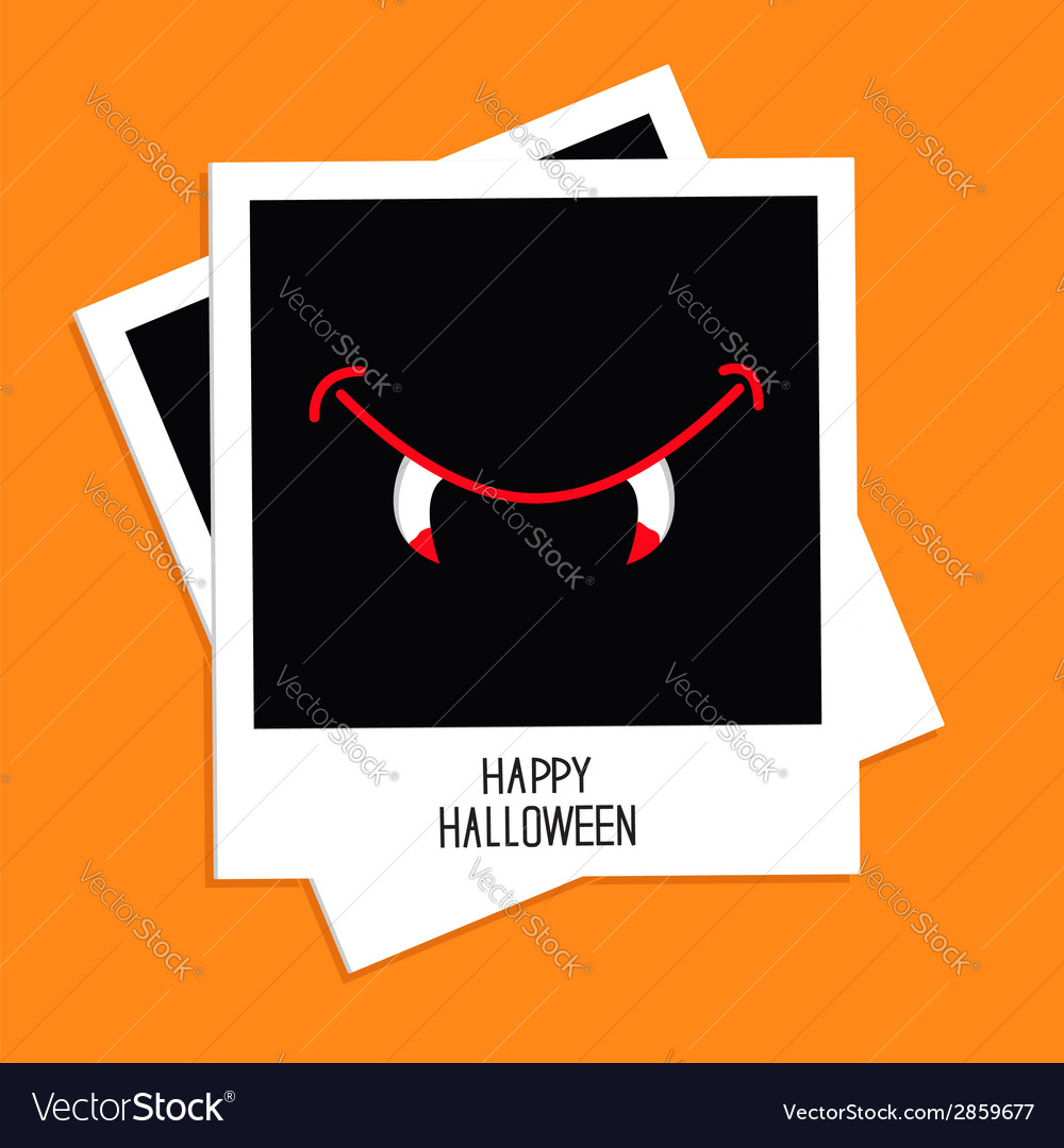 Instant photo with vampire mouth fangs halloween vector | Price: 1 Credit (USD $1)