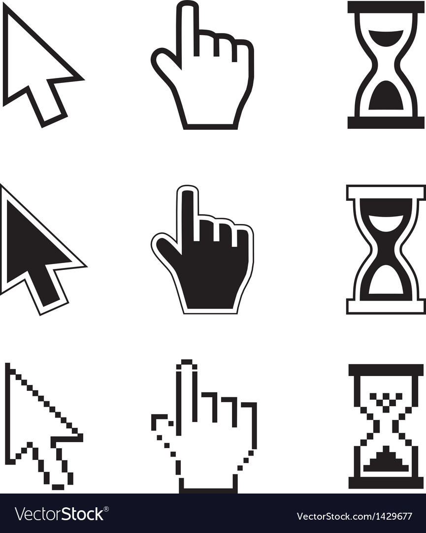 Pixel cursors icons-arrow hourglass hand mouse vector | Price: 1 Credit (USD $1)