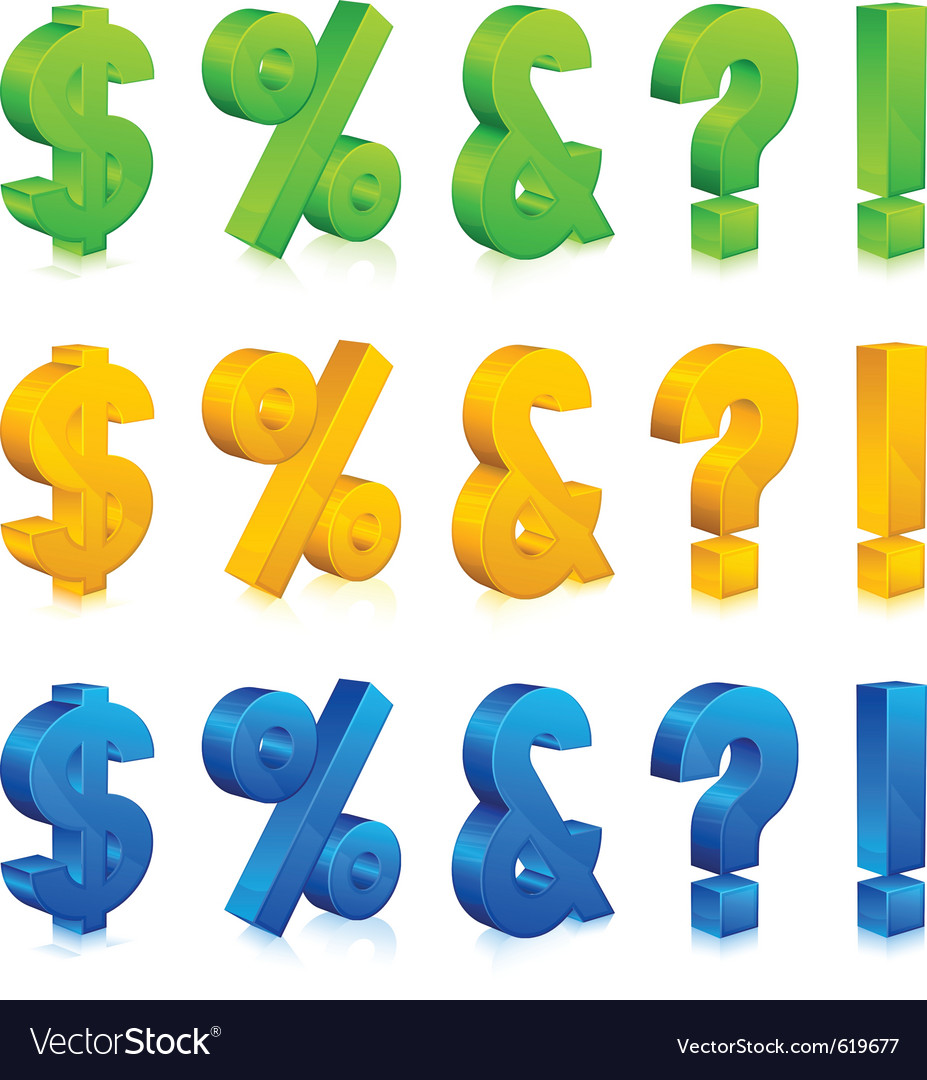 Question exclamation percent and dollar signs vector | Price: 1 Credit (USD $1)