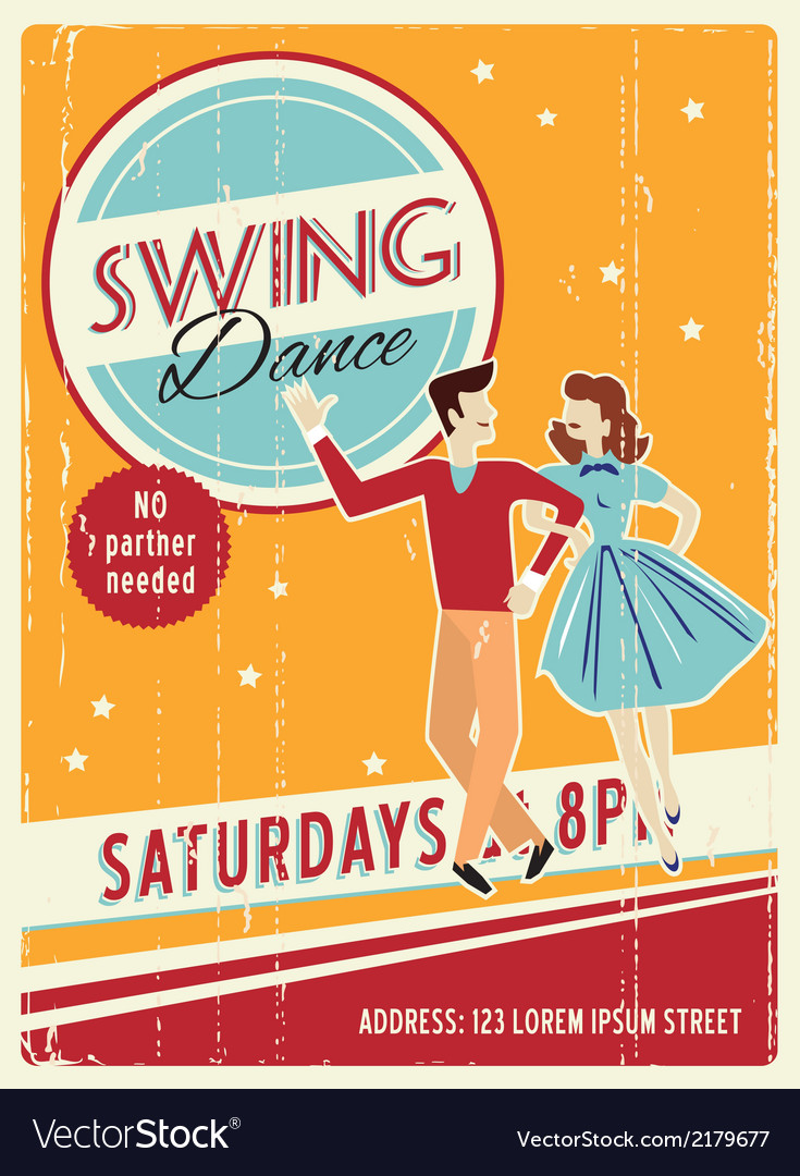 Retro party invitation design with sample text vector | Price: 1 Credit (USD $1)