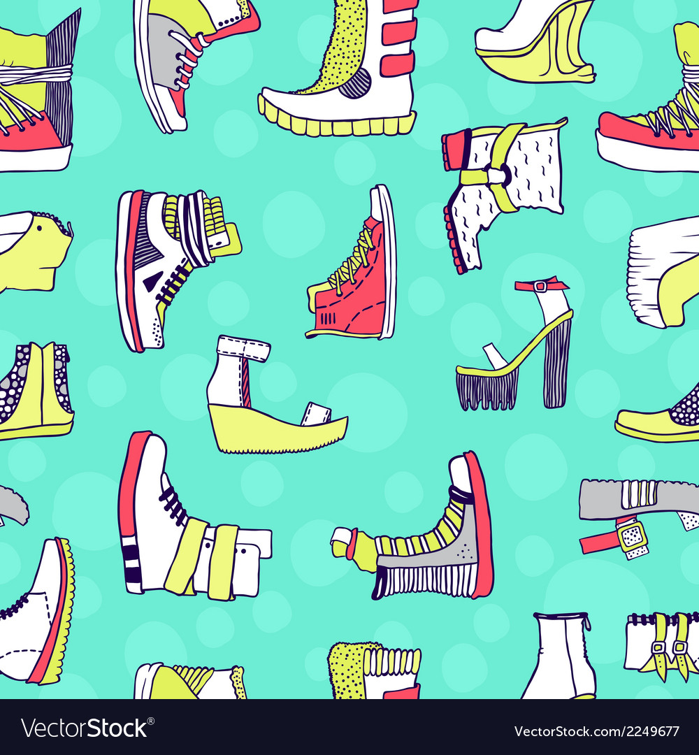 Seamless pattern with original shoes vector | Price: 1 Credit (USD $1)