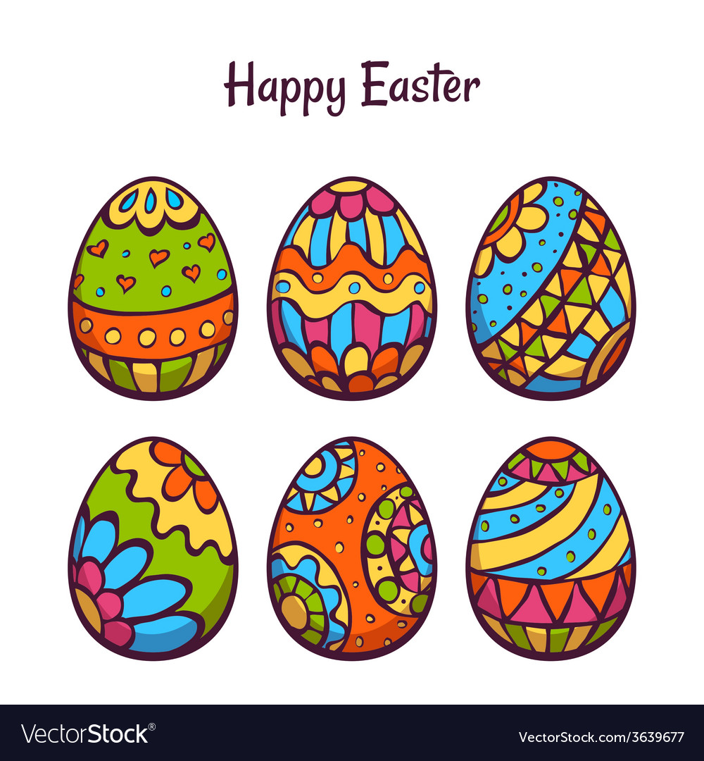 Set of cartoon color eggs for easter vector | Price: 1 Credit (USD $1)