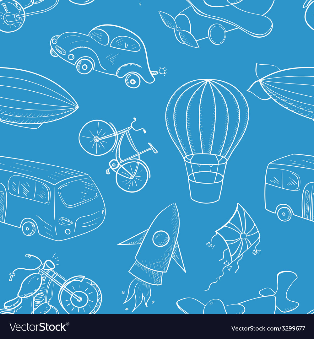 Sketches means of transport boys seamless pattern vector | Price: 1 Credit (USD $1)