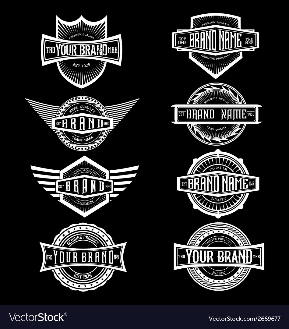 Vintage brand label badges vector | Price: 1 Credit (USD $1)