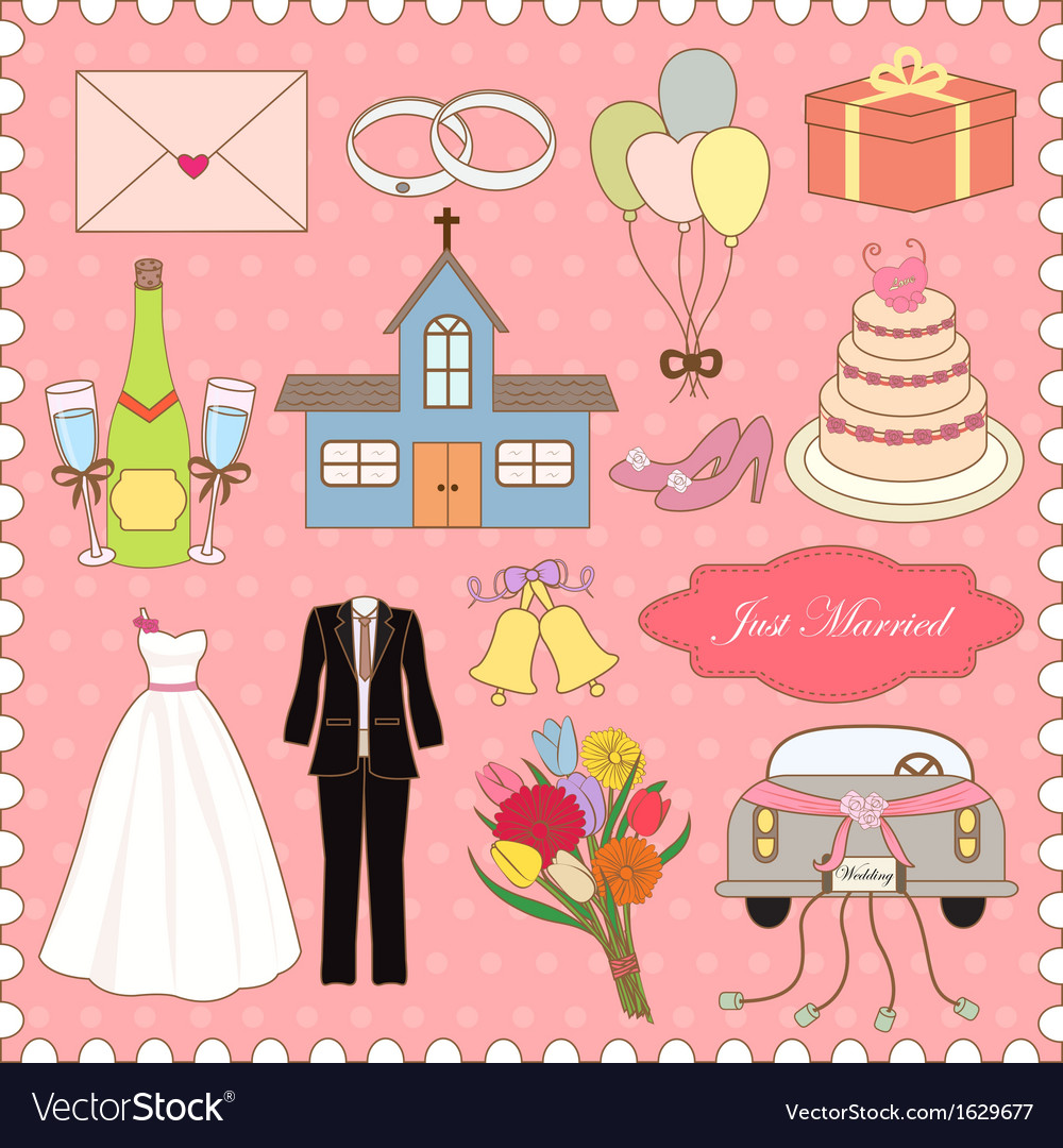 Wedding icons collection vector   Price: 1 Credit (USD $1)