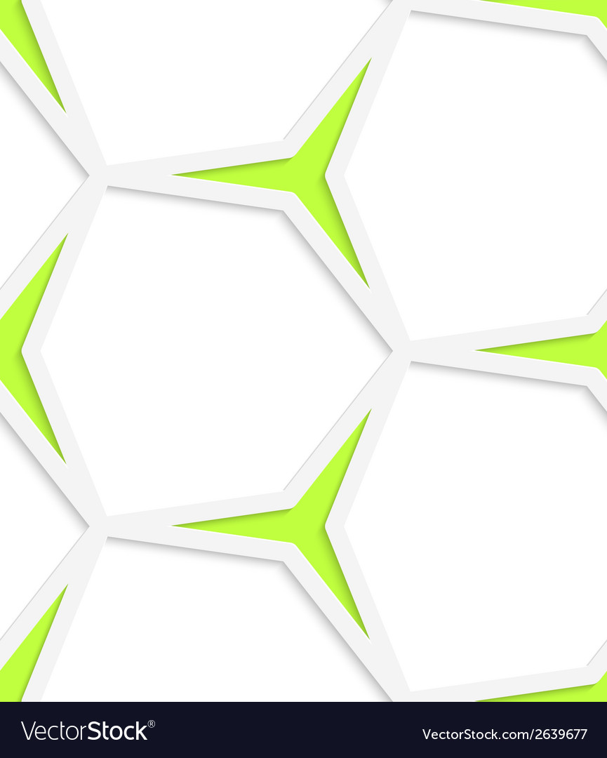 White hexagonal net and green stars seamless vector | Price: 1 Credit (USD $1)