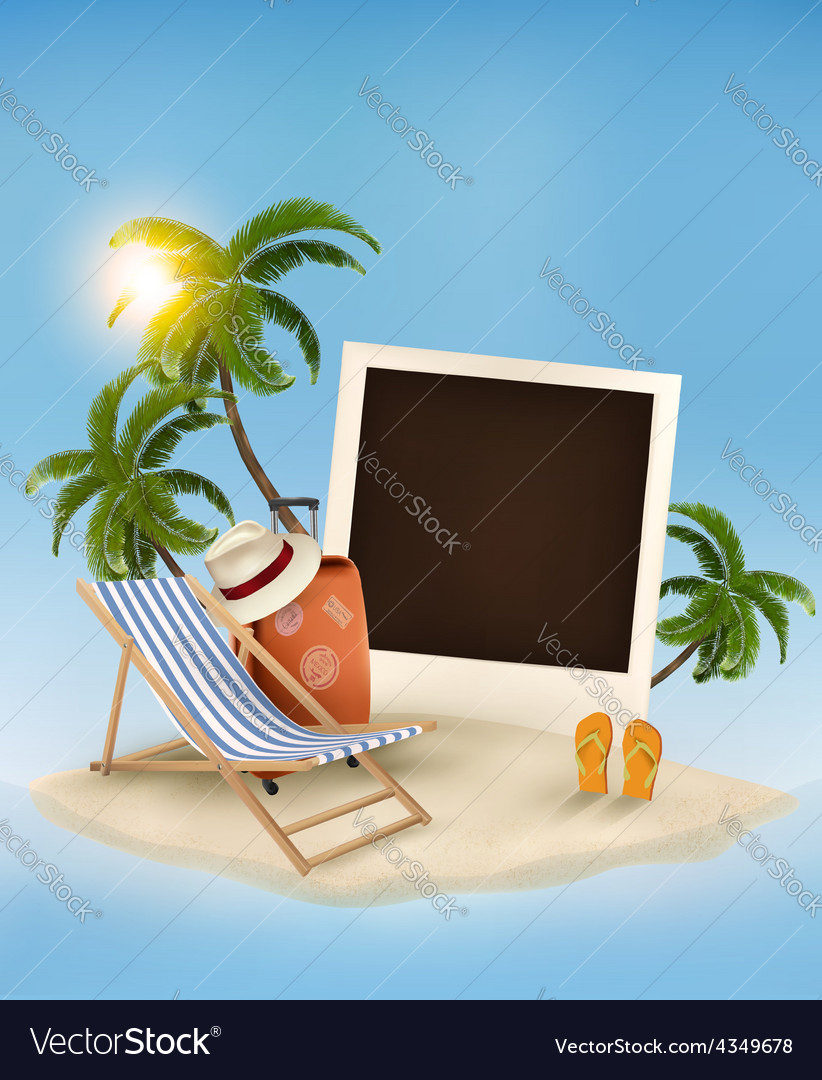 Beach with a palm tree a photograph and a beach vector   Price: 1 Credit (USD $1)