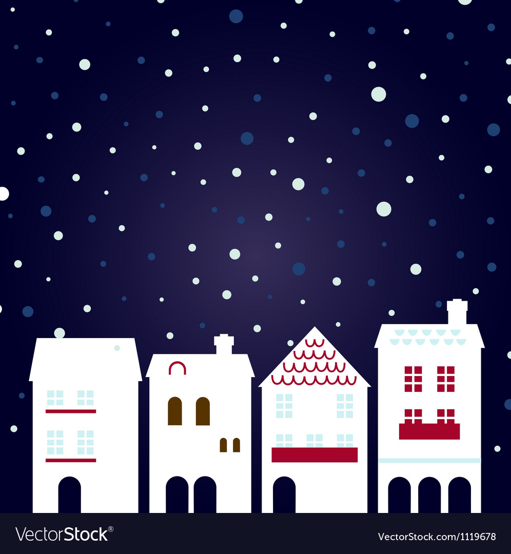 Christmas night city on snowing background vector | Price: 1 Credit (USD $1)