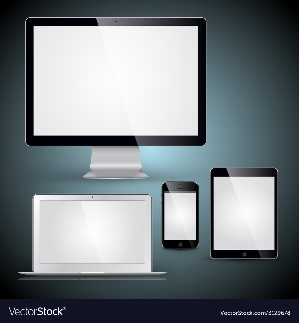Computer display laptop tablet pc and mobile phone vector | Price: 1 Credit (USD $1)