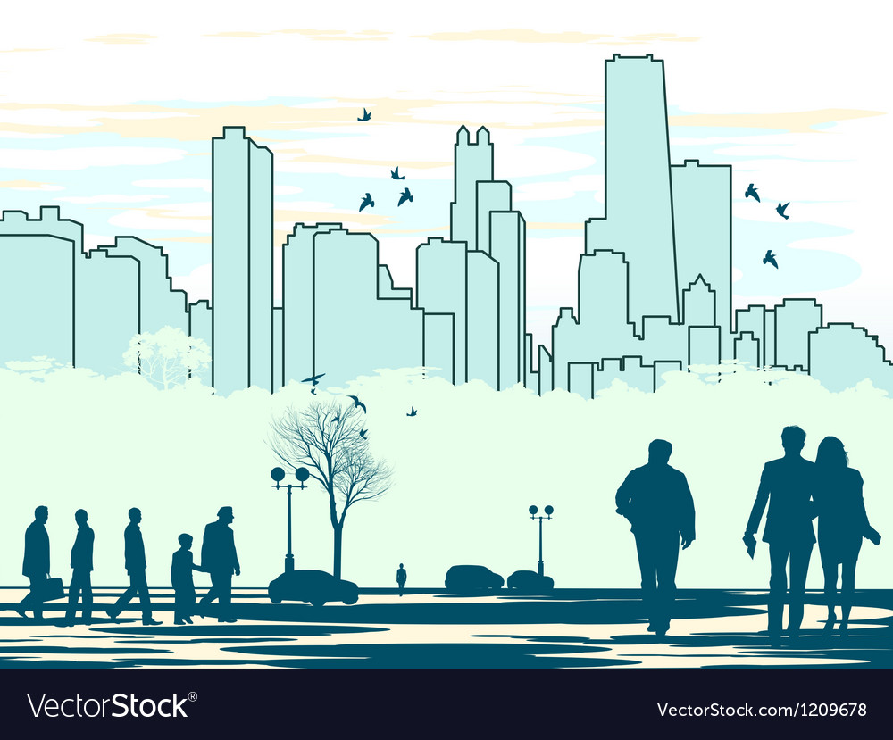 Cyan colored people silhouettes vector | Price: 1 Credit (USD $1)