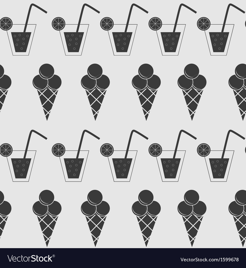 Drink and ice-cream seamless pattern background vector | Price: 1 Credit (USD $1)