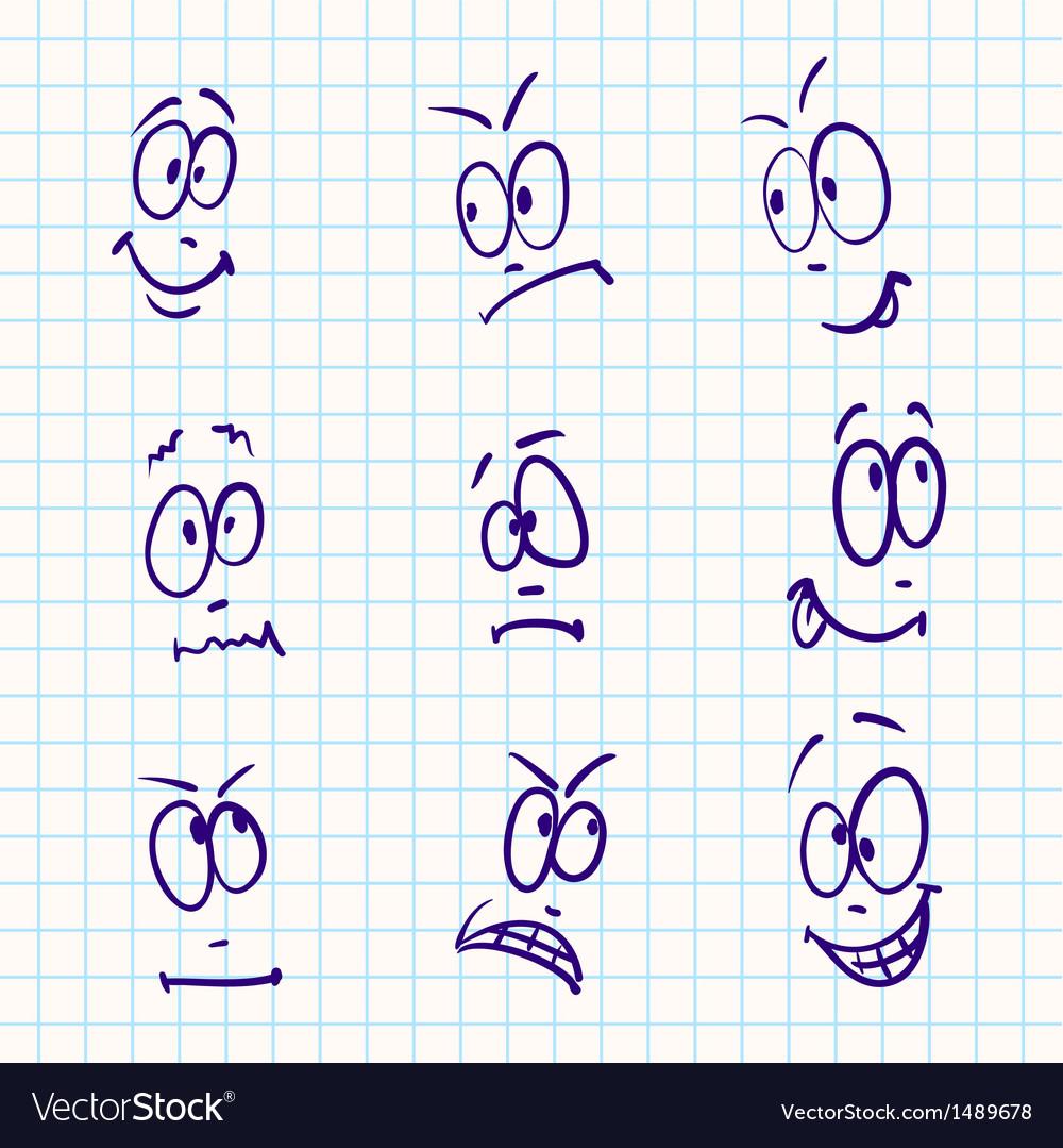Emotion set of nine face on notebook paper vector | Price: 1 Credit (USD $1)