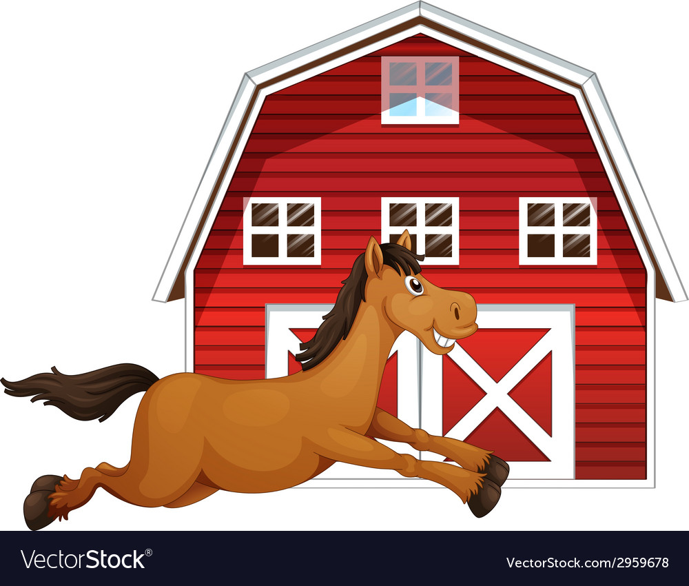 Horse and barn vector | Price: 1 Credit (USD $1)